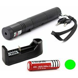 Grøn Laser 301+batteri+lader, 200mW