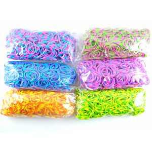 Neon 2-farvede Loom Bands, 600stk