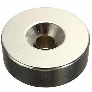 Neodymium Skivemagnet, Ø30x10mm m. 6mm hul, 2stk.
