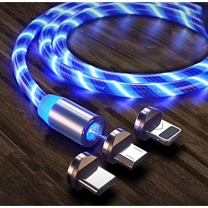 Magnetisk USB ladekabel, blå LED
